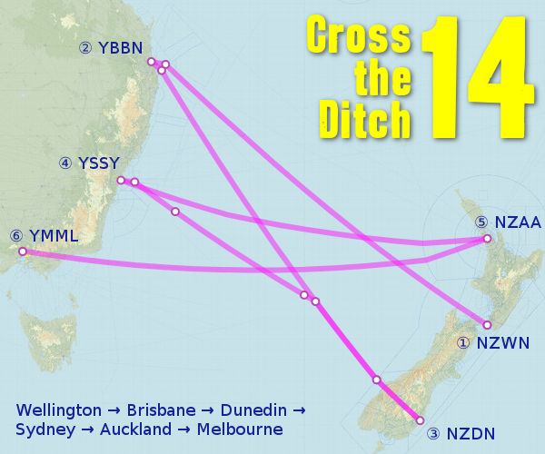 Cross the Ditch 14 Route Map